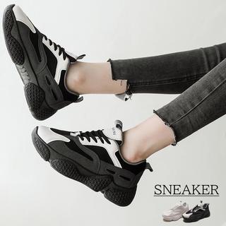 ♥ スニーカー ダッドスニーカー 厚底シューズ レースアップ 運動靴(スニーカー)