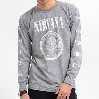 新品 ニルヴァーナロングTシャツM~XL/ グレー agl-0006(Tシャツ/カットソー(七分/長袖))