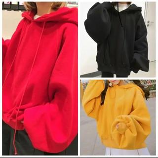 新品 原色 シンプル 無地 オーバーサイズ パーカー 黄色 黒 赤 男女兼用(パーカー)