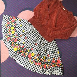 THE EMPORIUM - 美品☆フルーツ柄スカート☆Aライン☆フレアスカート☆ギンガムチェック
