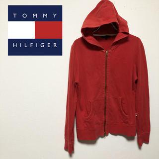 トミーヒルフィガー(TOMMY HILFIGER)のTOMMY HILFIGER トミーヒルフィガー 赤 パーカー フルジップ L(パーカー)