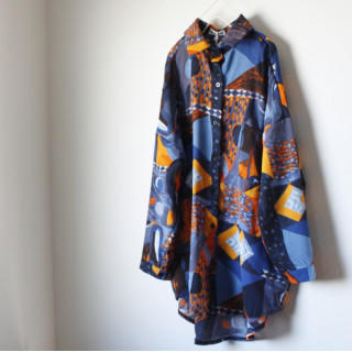 【即日発送】 大きいサイズ 総柄 シャツ ポリシャツ 原宿 モード系 カラフル(シャツ/ブラウス(長袖/七分))