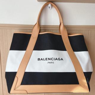 Balenciaga - 極美品☆限定バレンシアガ ネイビーカバ ボーダートートバッグ M