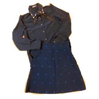 ミュウミュウ(miumiu)のmiumiu ミュウミュウ ビジュー スカート 36 美品(ミニスカート)