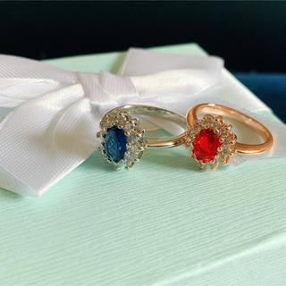 artificialサファイア&moissaniteダイヤ18k WGのリング(リング(指輪))