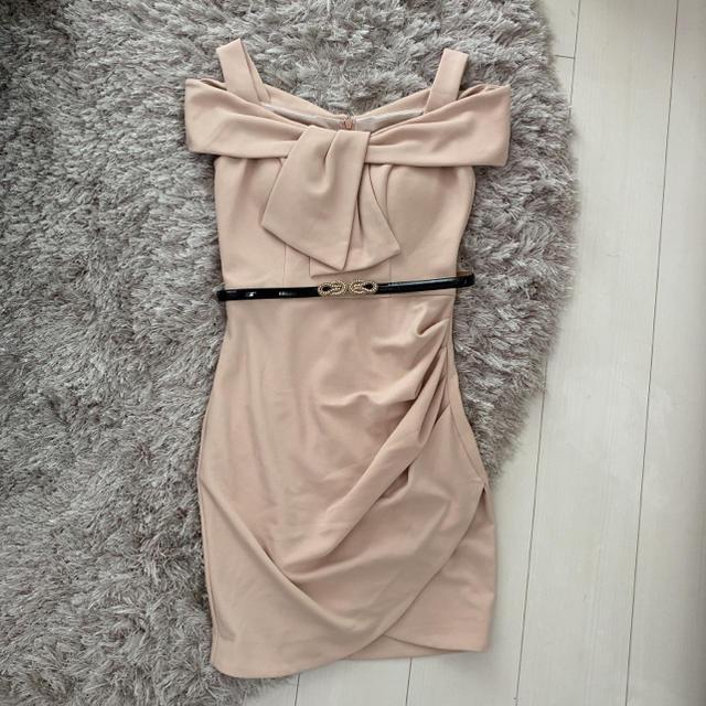 Andy(アンディ)のIRMA イルマ ワンピース ドレス ピンク ベージュ リボン ベルト付 レディースのフォーマル/ドレス(ミニドレス)の商品写真