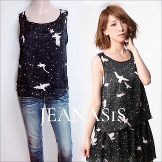 JEANASIS - JEANASIS 鳥×星 サテンプリント トップス♡マウジー ジーナシス