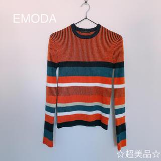 エモダ(EMODA)のEMODA エモダ ボーダーリブニットトップス (ニット/セーター)