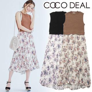 COCO DEAL - 大人気商品♡cocodeal 花柄ドッキングワンピ ブラウン 茶