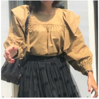 ザラ(ZARA)の新品 バースデーバッシュ フリルシャツ デコラティブ ベージュ(Tシャツ(長袖/七分))