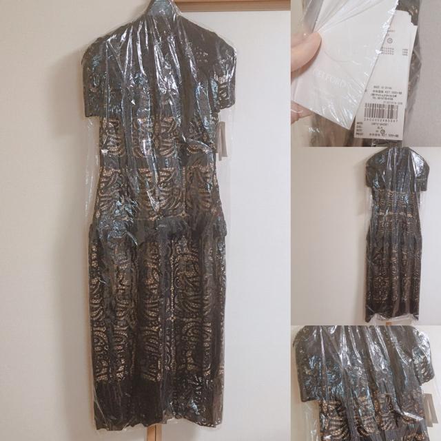 FRAY I.D(フレイアイディー)のセルフォード レース ドレス ワンピース 結婚式 ブラック 38 レディースのフォーマル/ドレス(ロングドレス)の商品写真
