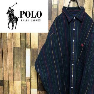 POLO RALPH LAUREN - 【激レア】ポロラルフローレン☆ワンポイント刺繍ロゴマルチストライプシャツ 90s