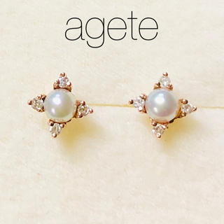 agete - 【agete】K10PG ダイヤモンド&ベビーパール ピアス