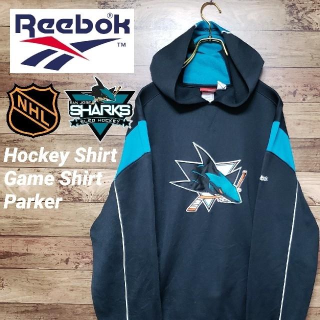 Reebok(リーボック)のリーボック NHL サンノゼシャークス ゲームシャツ パーカー 刺繍ロゴ メンズのトップス(パーカー)の商品写真