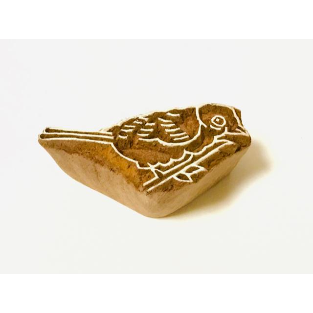 インド 木彫 鳥 はんこ スタンプ ハンドメイドの文具/ステーショナリー(はんこ)の商品写真