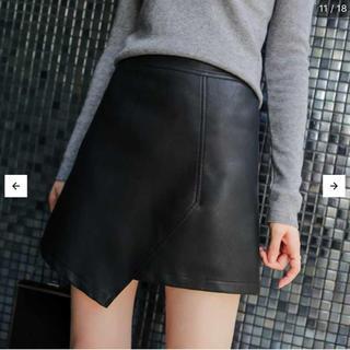 レザースカート アシンメトリー ミニスカート Aラインスカート レザー スカート