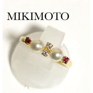 MIKIMOTO - ミキモト K18YG ベビーパール ルビー ダイヤ リング 真珠