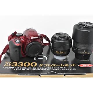 ニコン(Nikon)の人気のレッド Nikon D3300 ダブルズームレンズキット SDカード付き(デジタル一眼)