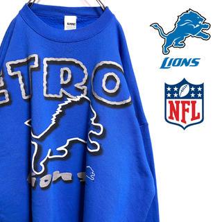 リーボック(Reebok)の古着 90s NFL デトロイト・ライオンズ スウェット トレーナー ビッグロゴ(スウェット)
