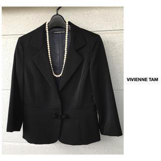 ヴィヴィアンタム(VIVIENNE TAM)のヴィヴィアンタム 七分丈 黒 ジャケット 結婚式 二次会 パーティ 発表会(テーラードジャケット)