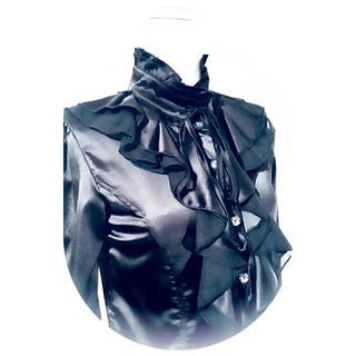 ♛立ち襟&胸元フリル♛サテン.ブラウス♛ ゴシック ゴスロリ ヴィクトリアン(シャツ/ブラウス(長袖/七分))