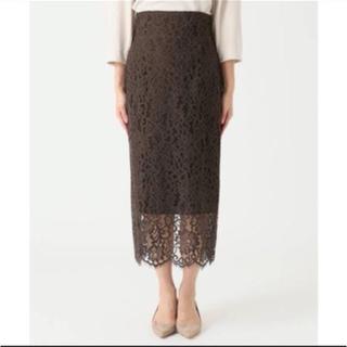 ノーブル(Noble)のNoble リバーレース  Iライン スカート 36  ブラウン(ひざ丈スカート)