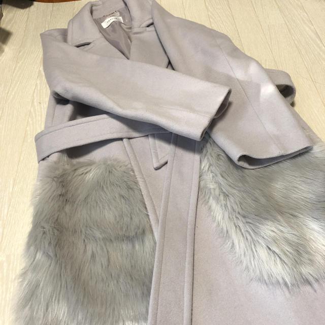FRAY I.D(フレイアイディー)のフレイアイディー ポケットファー  ガウンコート レディースのジャケット/アウター(ロングコート)の商品写真