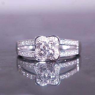 モーブッサン チャンス オブ ラブ ダイヤモンド リング 指輪 K18 WG(リング(指輪))