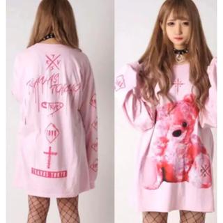 ミルクボーイ(MILKBOY)のTRAVAS TOKYO FURRY BEAR くま ビッグロングTシャツピンク(Tシャツ/カットソー(七分/長袖))