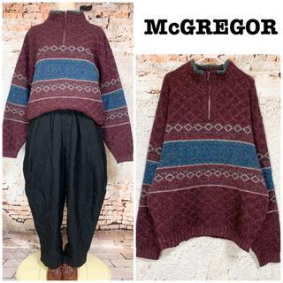 マックレガー(McGREGOR)のマックレガー 絹混&ネップ生地 ハーフジップ ニット セーター(ニット/セーター)