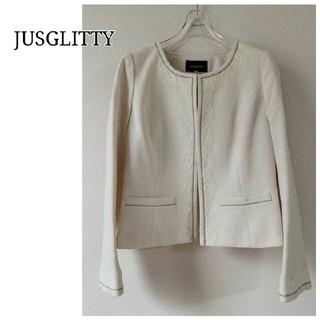 JUSGLITTY - 【ジャスグリッティー】ノーカラー ジャケット ホワイト