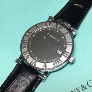 Tiffany & Co. - ティファニー 腕時計 アトラス ブラック 保証書 レザー メンズ レディース