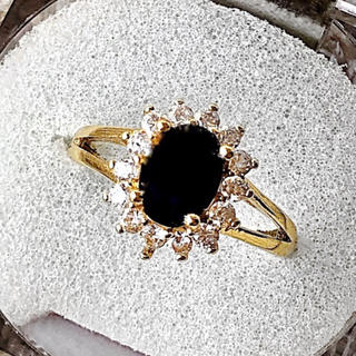 クラシカル調ゴールド色ブラックストーンフラワーリング(リング(指輪))