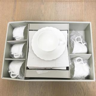 NARUMI - 新品ナルミ シルキーホワイト コーヒーカップ&ソーサー6客セットボーンチャイナ