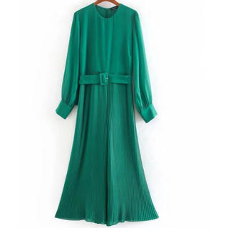 バルーン袖ベルト付きプリーツ切り替えオールインワンパンツドレス☆他サイズ有り