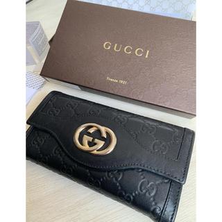 Gucci - グッチ GUCCI レザー 二つ折り長財布 黒 メンズ レディース