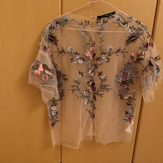 ZARA - ZARA ザラ ピンク シースルー刺繍トップス 花柄ブラウス シャツ S