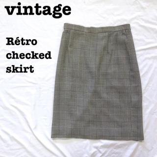 ロキエ(Lochie)の美品【 vintage 】 イギリス製 グレンチェックスカート ウールスカート(ひざ丈スカート)