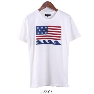 サガラ刺繍 波柄 星条旗Tシャツ