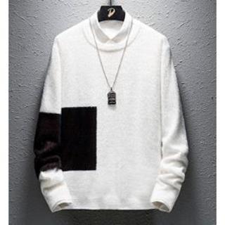 ホワイト 2色 セーター サイズ海外表記 L 好評 メンズ セーター(ニット/セーター)