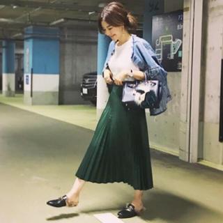 ZARA - ZARA プリーツスカート グリーン S