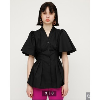 SLY - 【SLY】スライ  フレアスリーブスキッパーシャツ 新品 ブラック