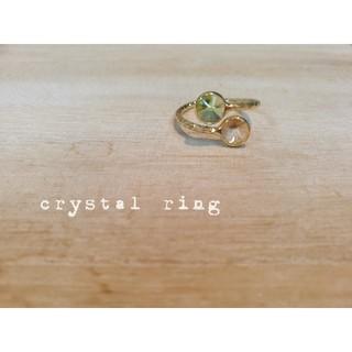 『グリーン&イエロー』の小さなcrystalリング(リング(指輪))