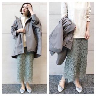 イエナ(IENA)の【新品タグ付】IENA レースタイトスカートグリーン サイズ34(ロングスカート)