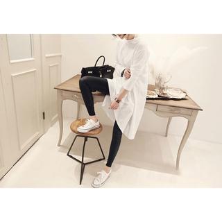 レディース トップス 長袖 ロングTシャツ シンプル ワンピース ホワイト XL(ひざ丈ワンピース)