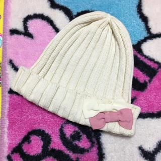 ジーユー(GU)のGU★リボンニット帽★ホワイト50~52位(帽子)