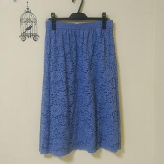 ユニクロ(UNIQLO)のUNIQLO☆美品レースフレアースカート(ひざ丈スカート)
