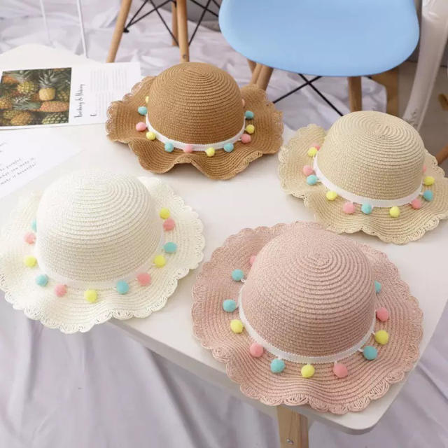 ZARA KIDS(ザラキッズ)の麦わら帽子 女の子麦わら カバンセット ポンポンバッグ キッズ/ベビー/マタニティのこども用ファッション小物(帽子)の商品写真