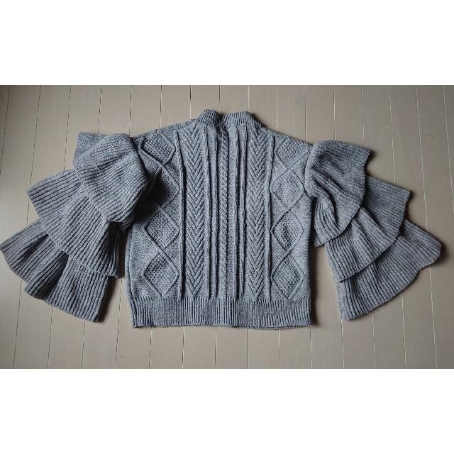 maizistory 芦屋グレイス●袖3段フリルニット グレー M相当●美品 レディースのトップス(ニット/セーター)の商品写真