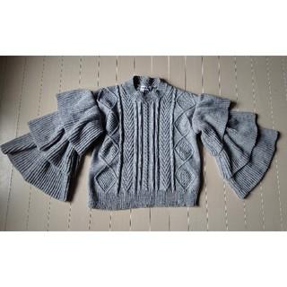 i - maizistory 芦屋グレイス●袖3段フリルニット グレー M相当●美品